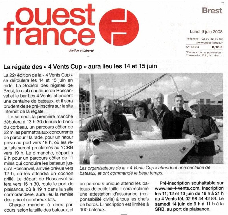 Revue de presse 2008 : OUEST FRANCE ��dition de BREST